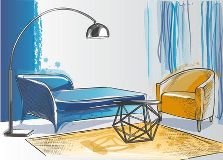 Set von Möbeln. Innenarchitektur. Wohnkultur. Sofa Lampe Sessel Couchtisch Stehlampe Teppich