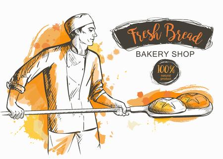 piekarz w mundurze wyjmując z łopatą upieczony chleb z pieca