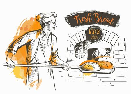 panettiere in uniforme tirando fuori con la pala pane cotto nel forno Vettoriali