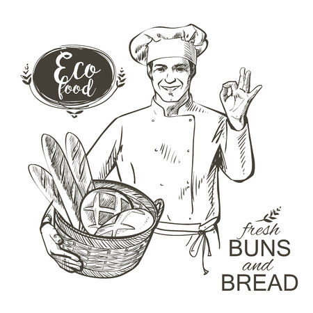 baker in uniform carrying a basket with baked bread illustration