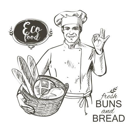 piekarz w mundurze niosąc kosz z chlebem pieczonym ilustracji