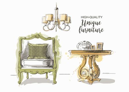 Conjunto de la mano elegantes muebles de época antigua y el interior tabla de detalles y la silla de dibujo vectorial dibujado Ilustración de vector