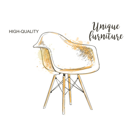 vacancies: vector chair isolated sketch hand drown furniture Illustration