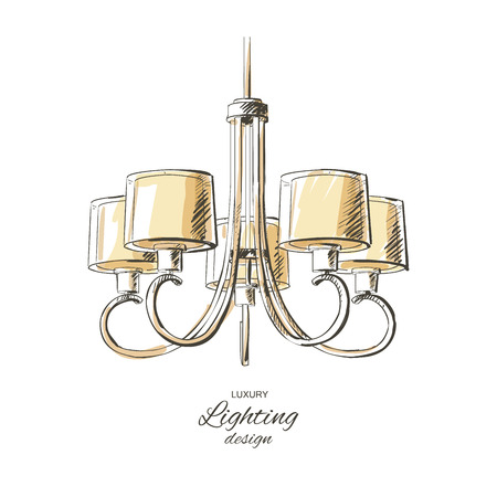 chandelier isolated: vector vintage chandelier isolated sketch hand drown furniture