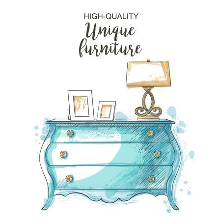 Antiguo elegante del vector de la vendimia aislado en el pecho dibujo a mano muebles se ahogan