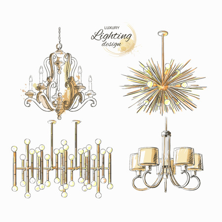 Set of lighting decor vintage chandelier modern golden lamp vector isolated sketch hand drown