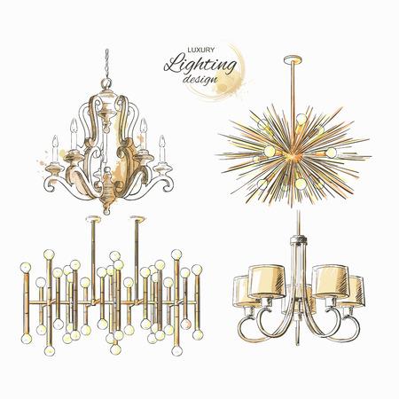 Set of lighting decor vintage chandelier modern golden lamp vector isolated sketch hand drown
