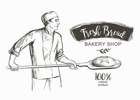 baker in uniform taking out with shovel baked bread from the oven vector illustration Ilustrace