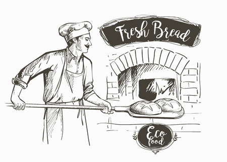 baker in uniform taking out with shovel baked bread from the oven vector illustration Çizim