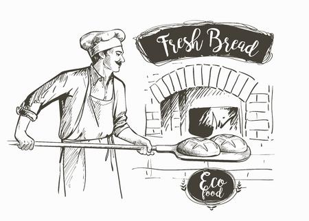 piekarz w mundurze wyjmując z łopatą upieczony chleb z pieca ilustracji wektorowych Ilustracje wektorowe