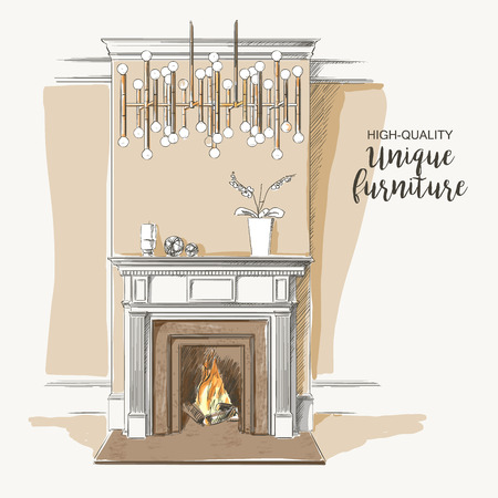 classic interior: Classic interior of living room with fireplace elegant vintage vector isolated sketch hand drown