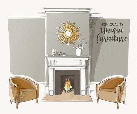 Classic interior of living room with fireplace armchairs elegant vintage vector isolated sketch hand drown