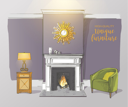 mantelpiece: Classic interior of living room with fireplace armchairs elegant vintage vector isolated sketch hand drown
