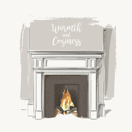 mantelpiece: Classic interior of living room with fireplace elegant vintage vector isolated sketch hand drown