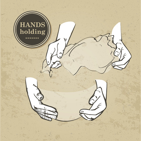 grabbing: Set of hands isolated Hand holding collection - vector illustration