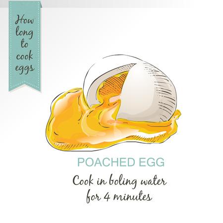 huevo escalfado como vector de alimento aislado en el fondo blanco Ilustración de vector