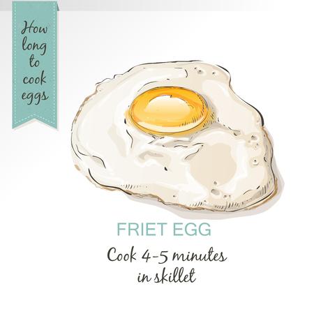 sunnyside: Fried egg vector isolated. Egg breakfast. Fried egg in vintage style sketch.