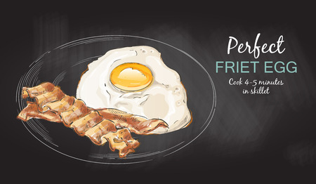 Fried eggs with bacon. Close up view of the fried egg on a frying pan chalk drawing on the blackboard