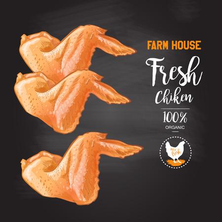 Geroosterde kippenvleugels Bovenaanzicht op het bord. geïsoleerd geïsoleerde vintage vector schets van de hand verdrinkt