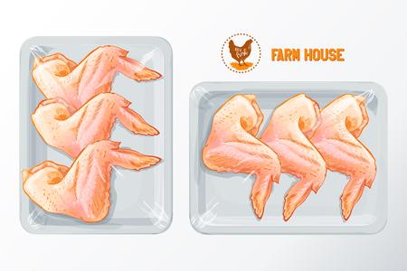ahogarse: alas de pollo fresco envasado de poliestireno blanco, vector maqueta Vista superior aislada vector vendimia mano se ahoga boceto