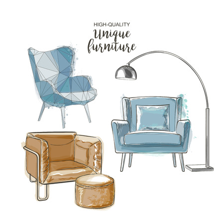 Set of hand drawn furniture and interior detail chairs vector sketch Illustration