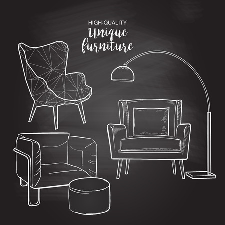 Set of hand drawn furniture and interior detail chairs vector sketch chalk drawing on the blackboard