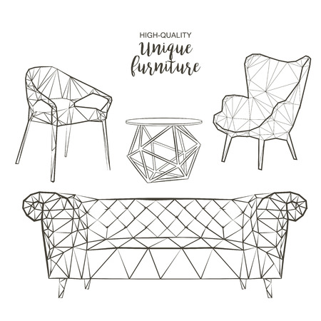 Set of hand drawn polygonal furniture and interior detail chairs sofa round coffee table vector sketch Zdjęcie Seryjne - 67911183
