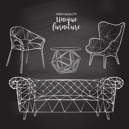 Set of hand drawn polygonal furniture and interior detail chairs sofa round coffee table vector sketch chalk drawing on the blackboard 向量圖像