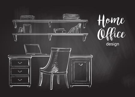 wooden work: Set of hand drawn classic Home office interior work table wooden shelf chair vector sketch chalkboard, blackboard, chalk