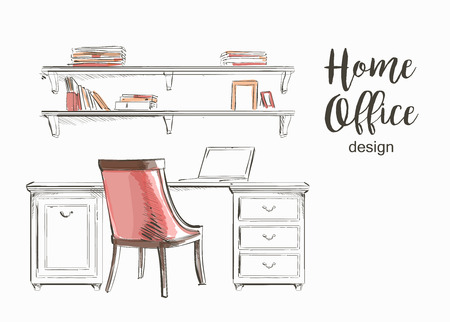 wooden work: Set of hand drawn classic Home office interior work table wooden shelf chair vector sketch