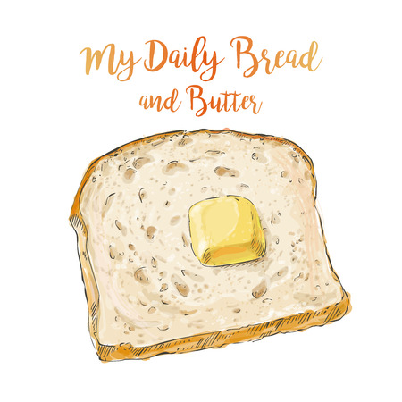 vector bread with butter Illustration