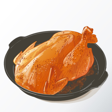 meat food: Roasted chicken isolated Illustration