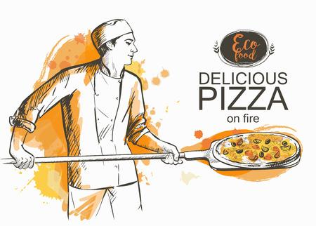 pizza gotowa do pieczenia w piecu ilustracji wektorowych