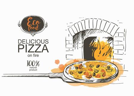 haciendo pan: Pizza listo para hornear en el horno ilustración vectorial