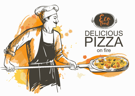 pizza ready to bake in the oven vector illustration