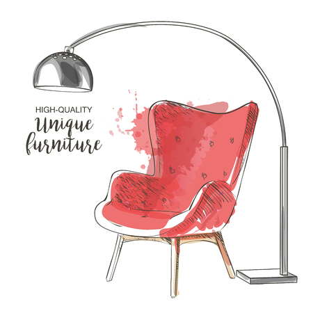 red chair sketch Ilustracja