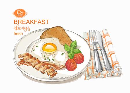 揚げ卵ベクトル イラスト