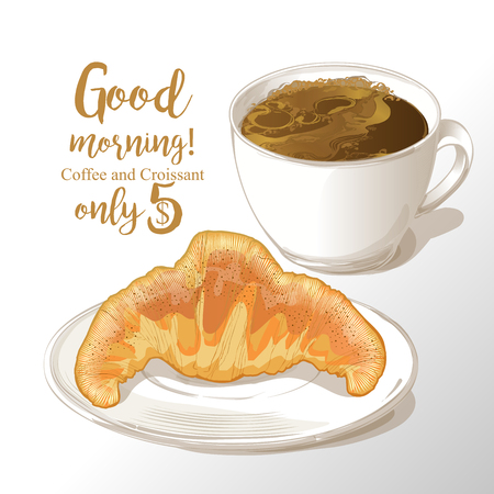cup of coffee and croissant vector illustration Illustration