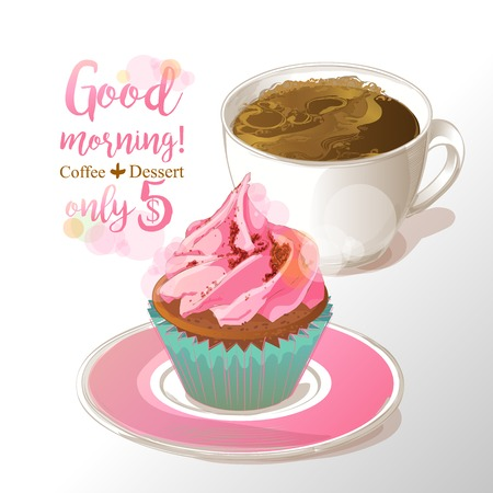 cup of coffee and cupcake vector illustration
