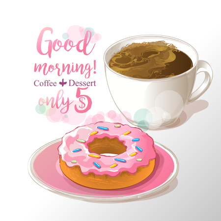 cup of coffee and donut vector illustration