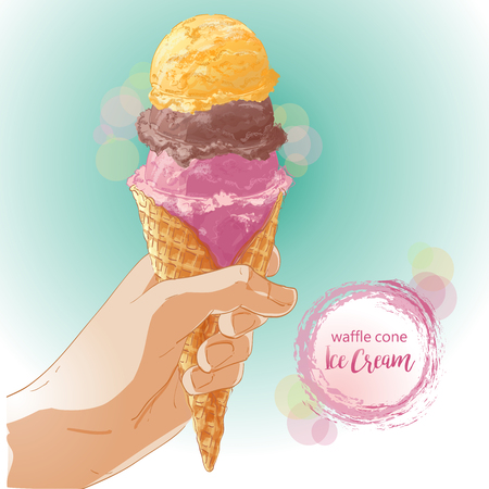 Vector Hand holding ice cream in waffle cone.