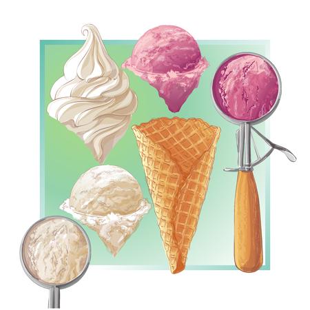 Vector ice cream in waffle cone Illustration
