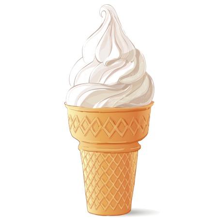 Vector ice cream in waffle cone Ilustração