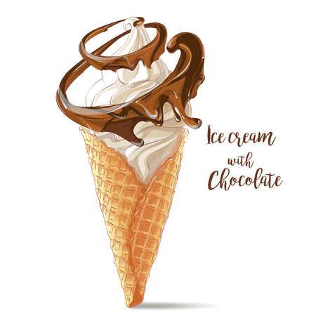 Vector ice cream in waffle cone with chocolate spiral Çizim