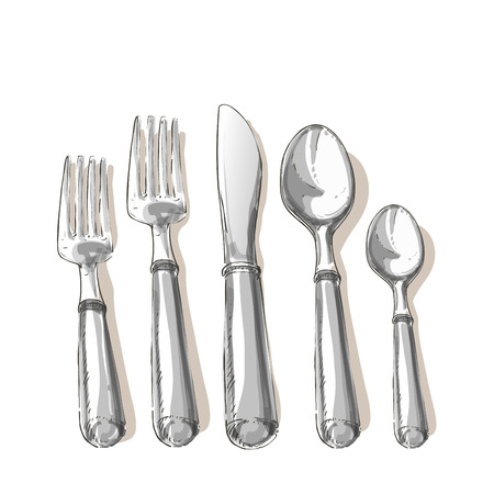 Vector cutlery set: forks, knive, spoon