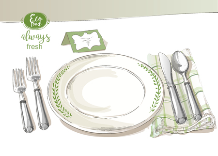 knive: Vector cutlery set: forks, knive, spoons, empty plate