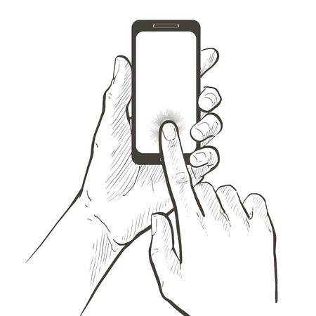근접 두 손을 잡고 스마트 폰을 만지고입니다. 실물 크기의 빈 화면. 흰색 배경에 벡터 라인 그림입니다.