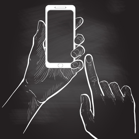 hands holding and touching smart phone