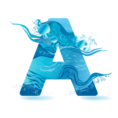 A Vector One letter of water isolated on blue background.