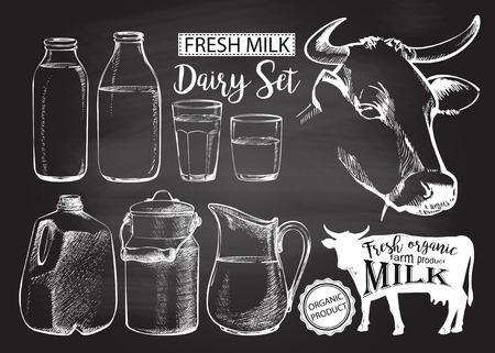 Flaschen und Gläser Gallone mit frischer Milchprodukten kann für Milch lokalisiert auf Kreidezeichnung auf der Tafel vector Illustration Vektorgrafik